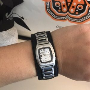 Freestyle Stainless Steel Black Leather Band Watch
